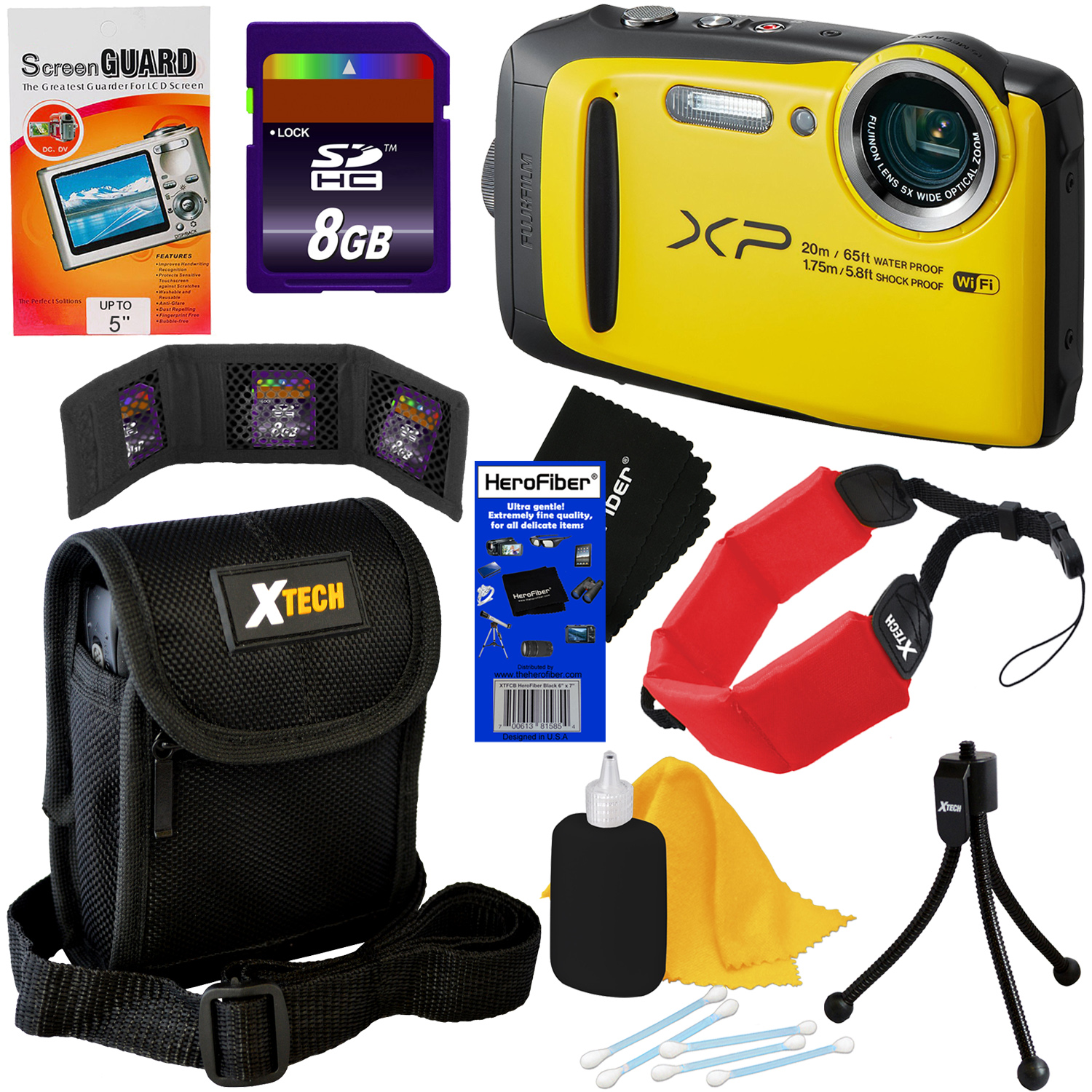 Fujifilm FinePix XP120 16.4 MP Waterproof & Shockproof Digital Camera with built-in Wi-Fi & 5x Optical Zoom (Yellow) + 8pc 8GB Accessory Kit w/ HeroFiber Gentle Cleaning Cloth