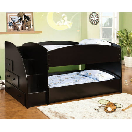 Furniture Of America Merritt Black Twin Over Twin Bunk Bed With Storage Drawers ()