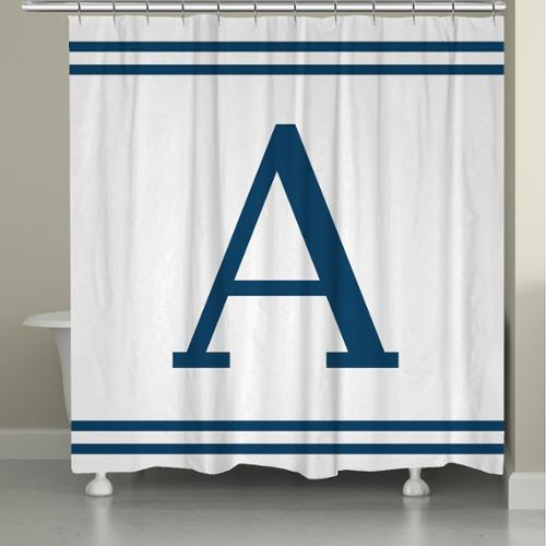 Laural Home Blue Monogram Shower Curtain E