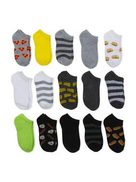 Wonder Nation Boys Socks, 15 Pack No Show Sizes S - L