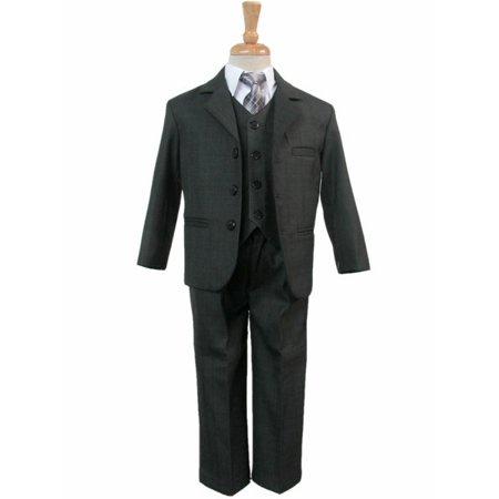 Grays 3 Piece Suit (Boys' Dark Gray 5 Piece Suit )