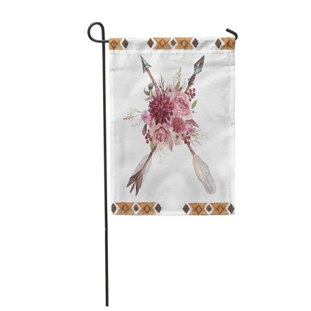 LADDKE Watercolor Hand Boho with Arrows and Flowers for Wedding Anniversary Birthday Garden Flag Decorative Flag House Banner 12x18 inch