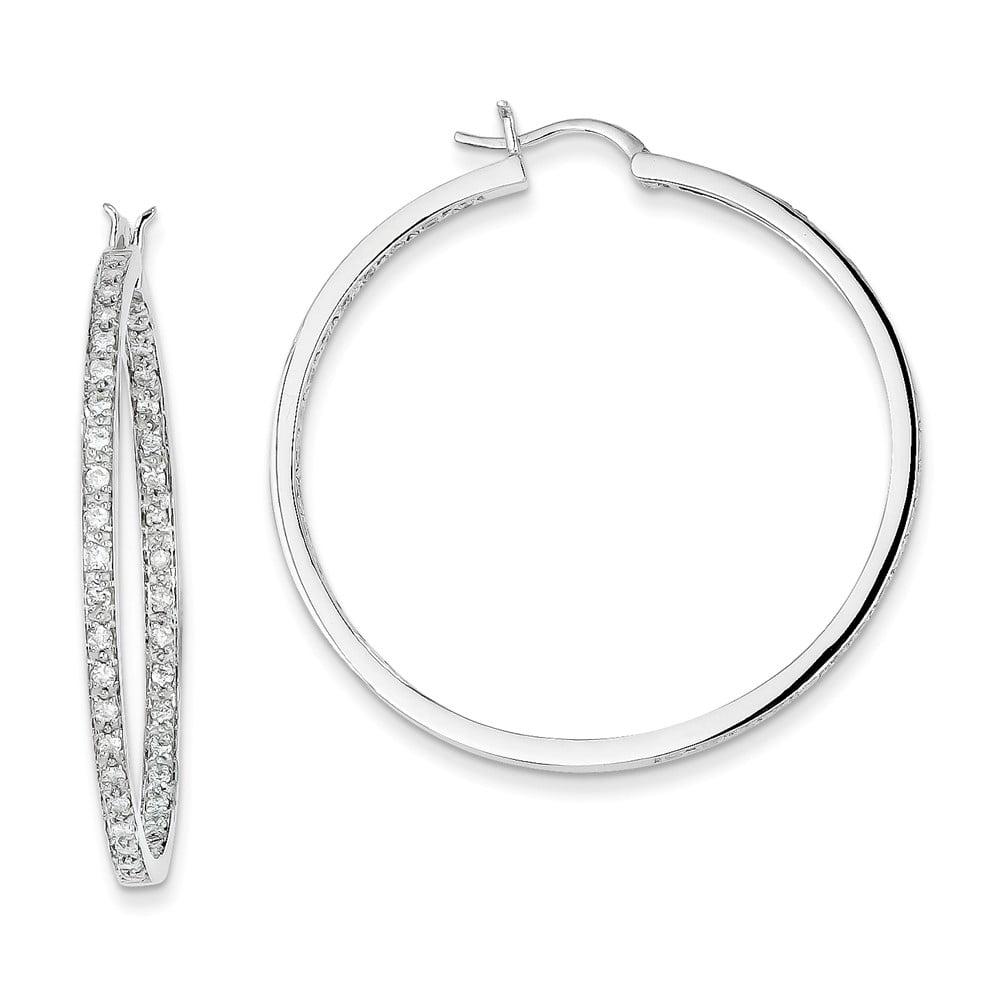 14k White Gold H-I SI2 Diamond In/Out Hoop Earrings. Carat Wt- 0.91ct (1.6IN Long x 1.8IN Wide)