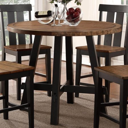 Benzara BM171293 Round Rubber and Pine Wood Counter Height Table, Brown ()