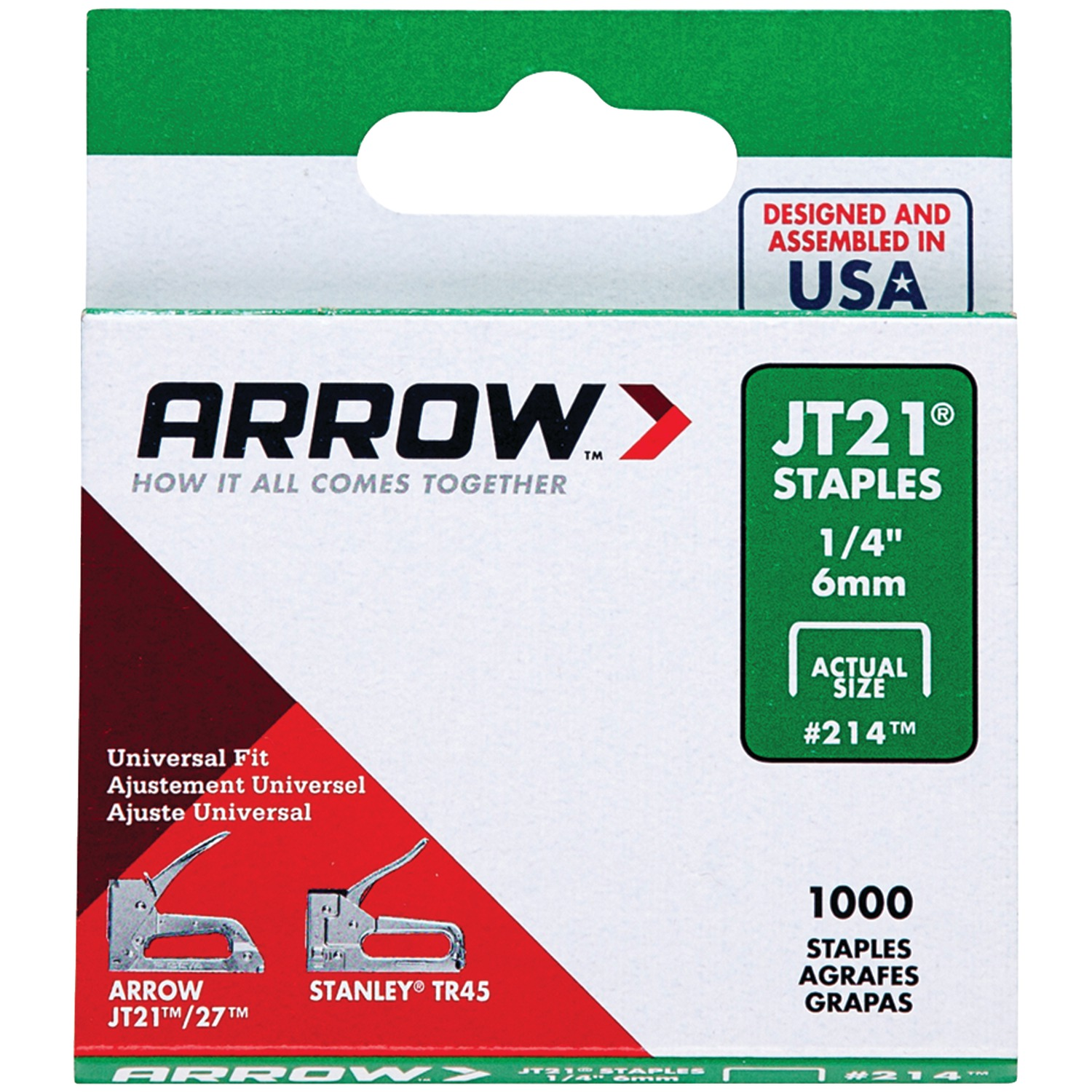Arrow 1/4 inch T21 Staples, 1,000 Count