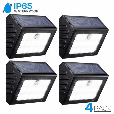 TORCHSTAR 4 Pack LED Solar Motion Sensor Lights, Wireless Outdoor Wall Lighting for Garden, Patio, Garage