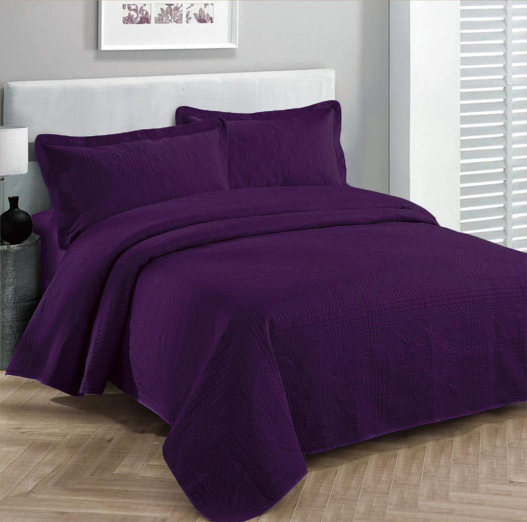 Fancy collection 3pc Bed Spread Embossed Bedsocover Solid Over size King / California king Dark Purple New