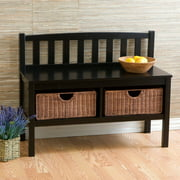Lincoln Bench With Storage Baskets, Black