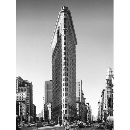 Flat Iron Building New York City Black and White Photo Thick Cardstock Poster 23.5x31.5 inch