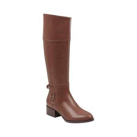 Women's Tommy Hilfiger Mani Riding Boot Medium Brown Manmade 7.5 (Tommy Hilfiger Vintage Tall Tufted Rain Boots)