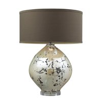 Limerick Table Lamp in Turrit Finish with Brown Linen Shade and Cream Liner