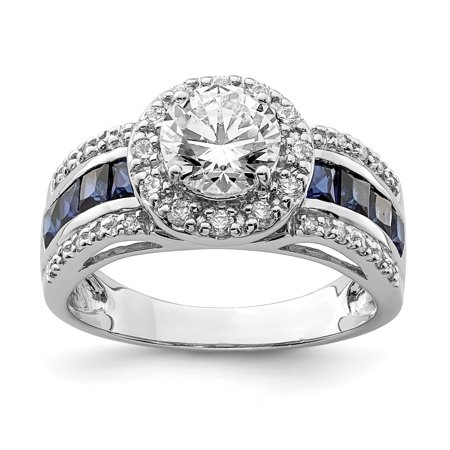 - 925 Sterling Silver Cubic Zirconia Cz Lab Created Sapphire Band Ring Size 6.00 Gemstone For Women