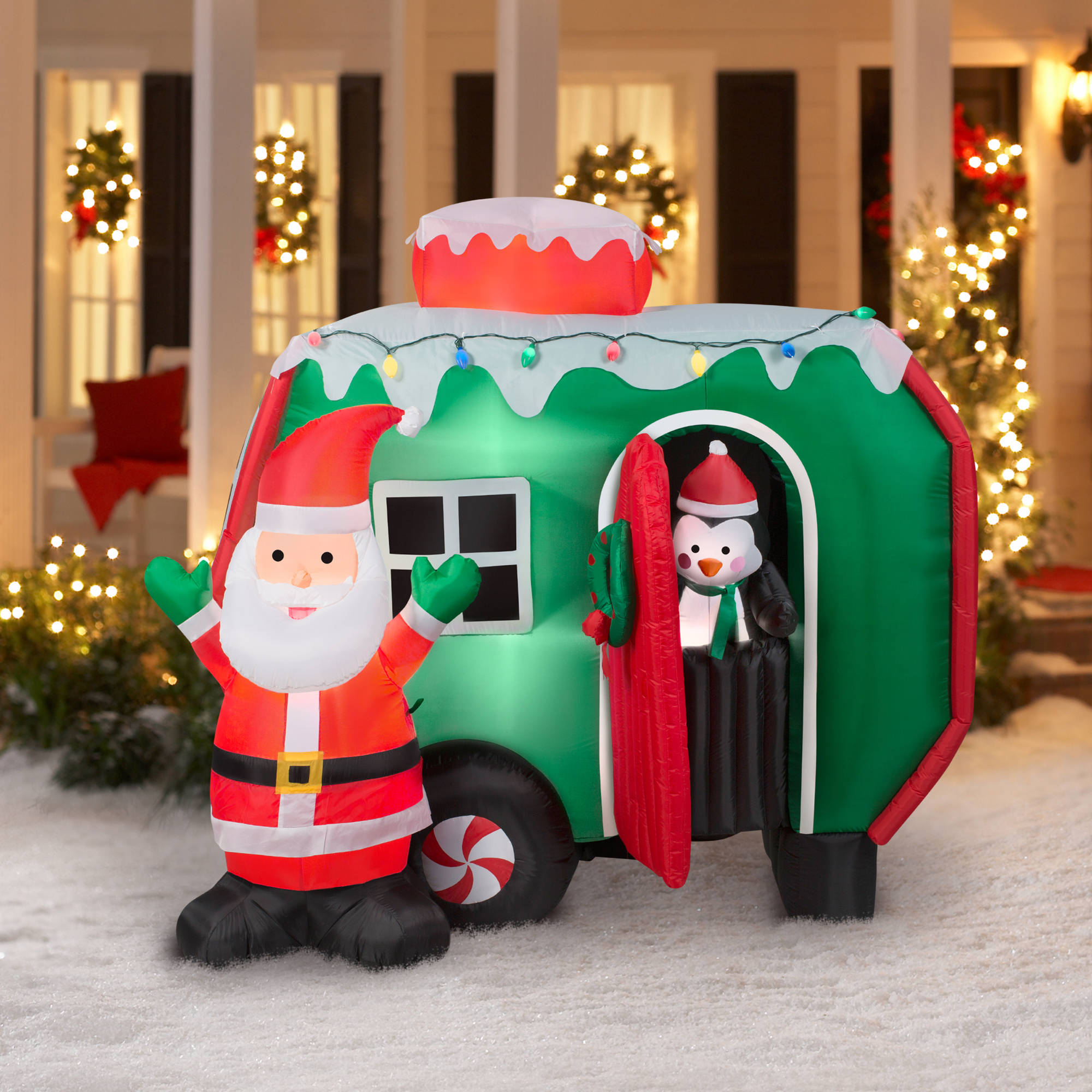 6 animated airblown inflatable santa and pop out penguin rv scene christmas inflatable walmartcom