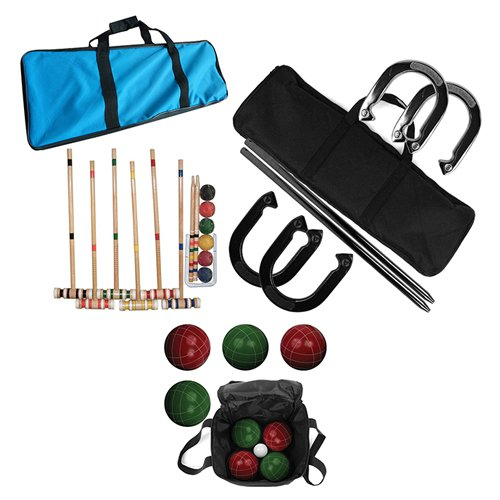 Bocce Ball Horseshoes and Croquet Game Set by