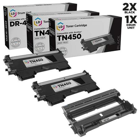 Compatible Brother TN450 Toner and DR420 Drum Combo Pack: 2 Black TN450 Laser Toner Cartridge and 1 DR420 Drum Unit TN-450 TN420 TN-420 MFC-7240 MFC-7360N MFC-7365DN MFC-7460DN MFC-7860DW HL-2240 Color Toner Imaging Drum