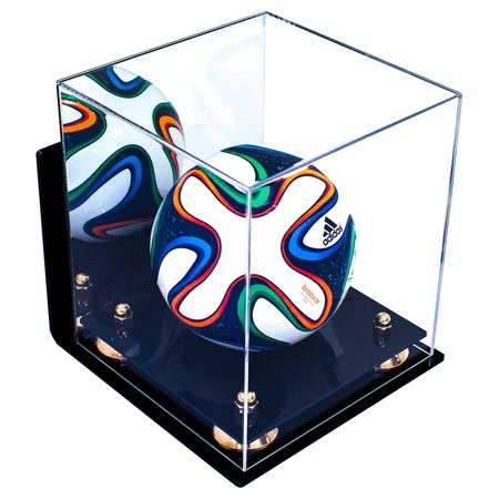 Deluxe Acrylic MINI - Miniature (not full size) Soccer Ball Display Case with Gold Risers Mirror and Wall Mount (A015-GR)