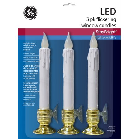 GE StayBright Battery Operated LED Flickering Window Candle Set White