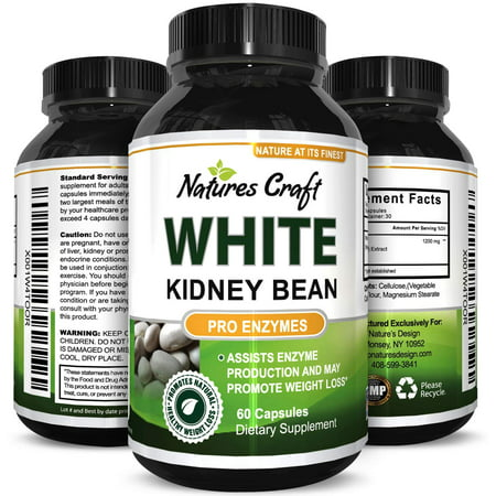 Natures Craft White Kidney Bean Supplement for Weight Loss Best Diet Pills and Carb Blocker Natural Fat Burner for Faster Slimming Potent Appetite Suppressant 60
