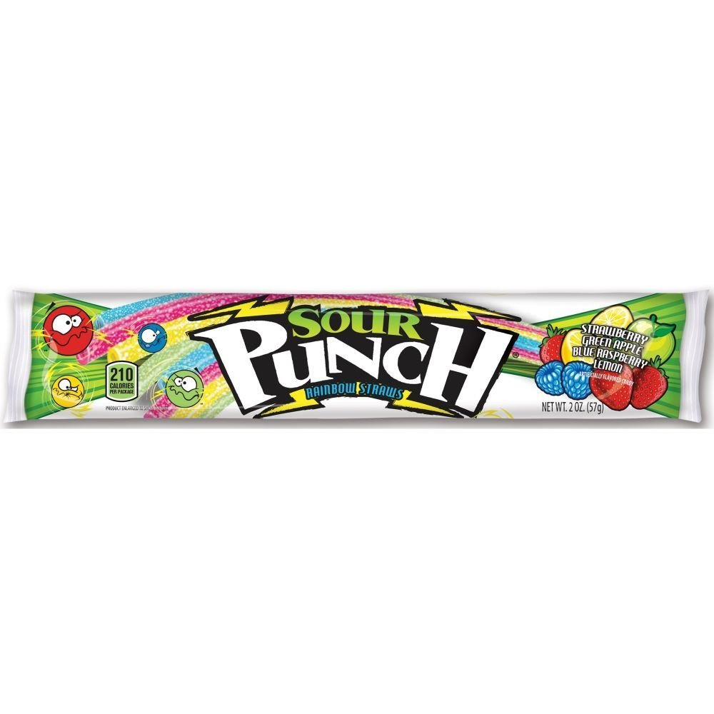288 PACKS : Sour Punch Rainbow Straws Candy, 2 Ounce