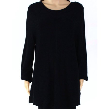ALFANI Womens Black Textured Long Sleeve Jewel Neck Top  Size: M