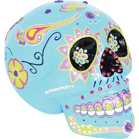 Morris Costumes Colorfully Decorated Skull Blue Sugar, Style SS73056