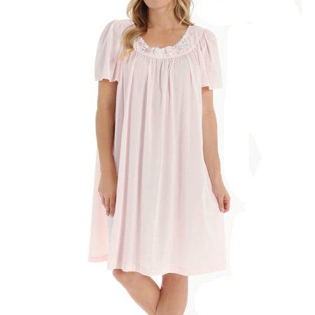 Women's Unmentionables 5295 Embroidered Yoke Short Gown (Aqua S) - image 2 de 4