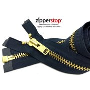 """ZipperStop Wholesale Authorized Distributor YKK® 27"""" inch Chaps Extra Heavy Duty Weight Jacket Zipper YKK #10 Brass ~ Separating ~ 560 Navy (1 Zipper/pack) Crafter's Special"""