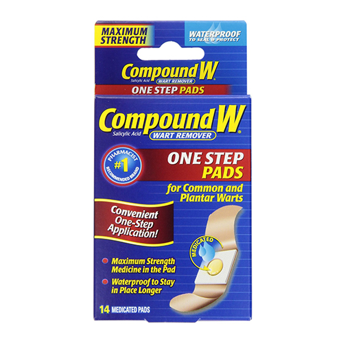 Compound W Wart Remover Medicated Maximum Strength Pads, Waterproof - 14 Ea