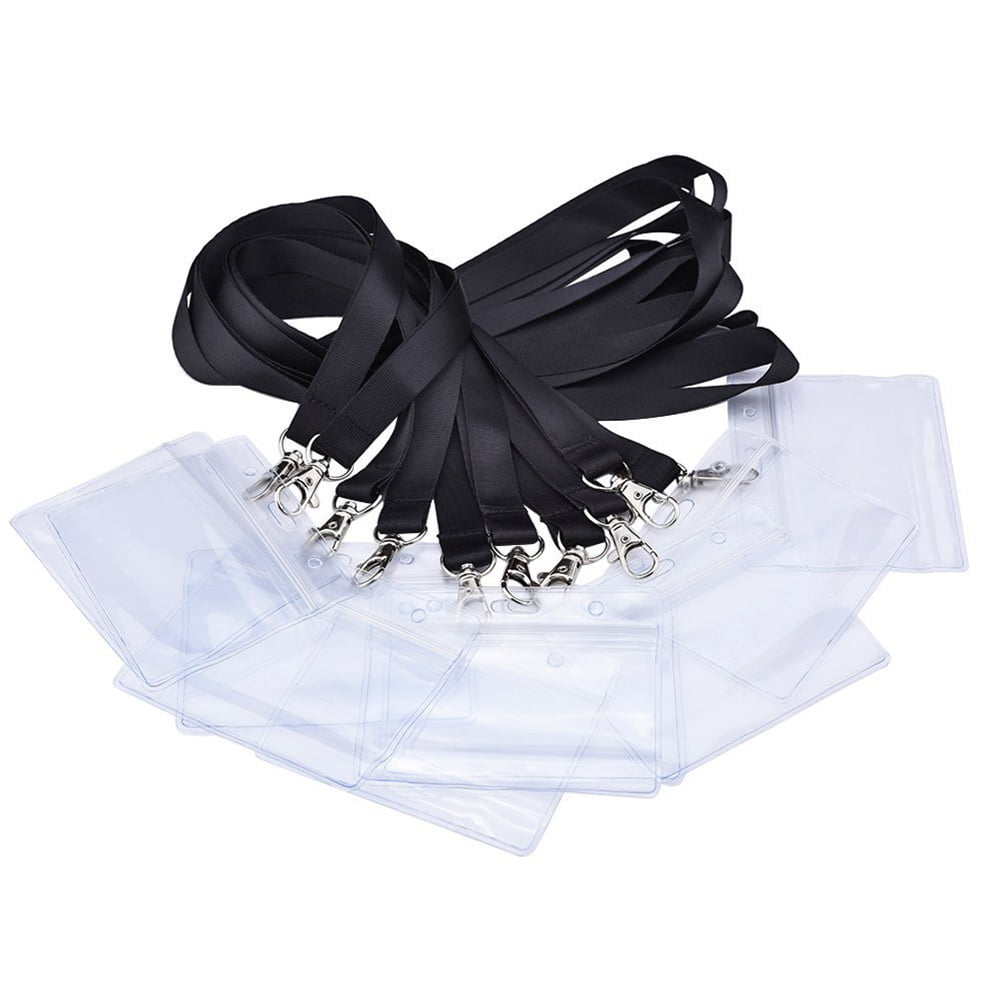 10pcs ID Badge Card Holder with Long Neck Strap Band Lanyard for Business   Exhibition   Office by