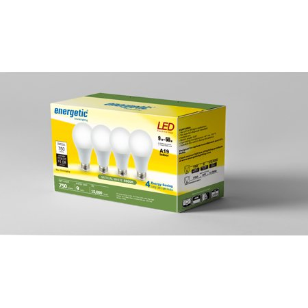Energetic LED A19 Light Bulbs, 9 Watts (60W Equivalent), E26 Base, 750 Lumens, 5000K, Non-dimmable (10000 Lumen 5000k Non Dimmable Led Yard Light)