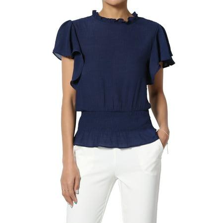 Cream Silk Blouse (TheMogan Women's Flutter Short Sleeve Smocked Hem Ruffled Neck Blouson Top Blouse)