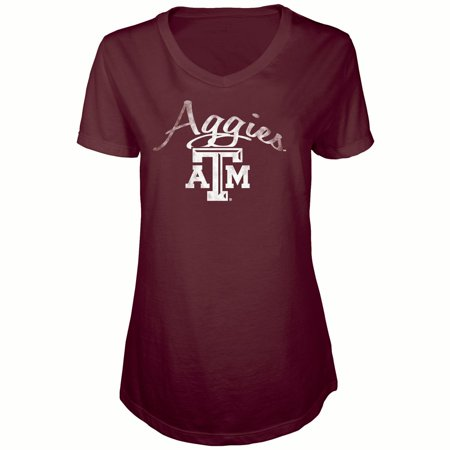 Women's Russell Maroon Texas A&M Aggies Distressed V-Neck Tunic T-Shirt