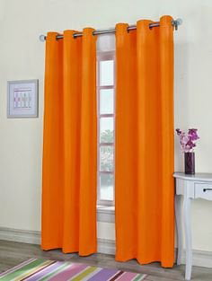 """MIRA SOLID YELLOW GROMMET 2 PIECES WINDOW PANELS//CURTAINS 63/"""""""