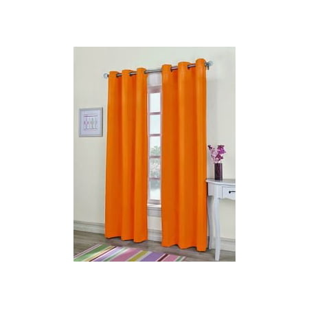 1  PANEL MIRA  SOLID ORANGE  SEMI SHEER WINDOW FAUX SILK ANTIQUE BRONZE GROMMETS CURTAIN DRAPES 55 WIDE X 84