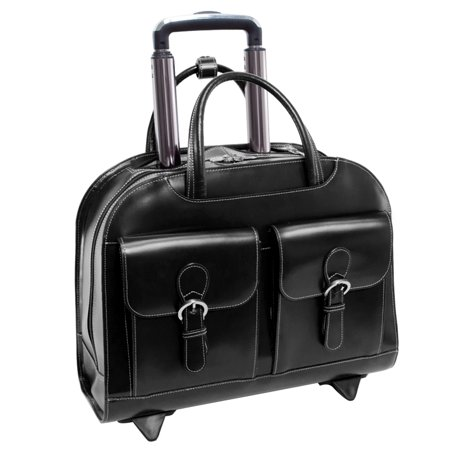 McKlein DAVIS, Wheeled Ladies' Laptop Briefcase, Top Grain Cowhide Leather with Faux Leather Trim, Black - Top Zip Underarm Leather Briefcase