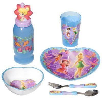 Disney Fairies Mealtime Tableware - 6 pcs Kids Dinnerware Set inspired by Tinker Bell, 1 Includes Fork, Spoon, Plate, Polypropylene Sports Bottle, Polypropylene.., By Zak Designs](Tinkerbell Plates)