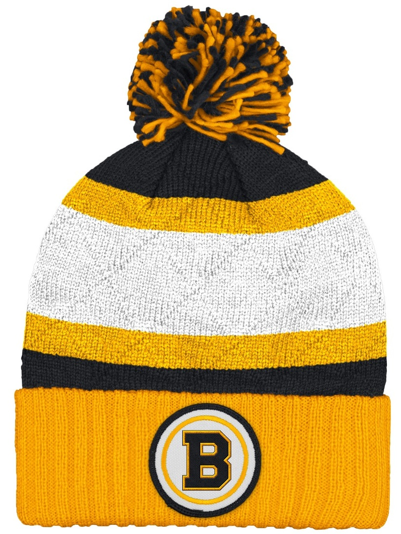 "Boston Bruins Mitchell & Ness NHL ""Quilted Crown"" Cuffed Knit Hat w Pom by Mitchell & Ness"
