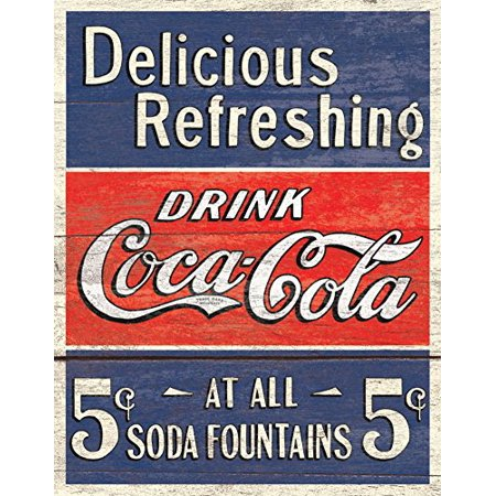 COKE - Delicious 5 Cents Tin Sign 12 x 16in ()