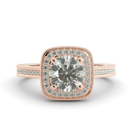 2.50 ct Round Forever Brilliant Moissanite & Diamond Engagement Ring 14k R