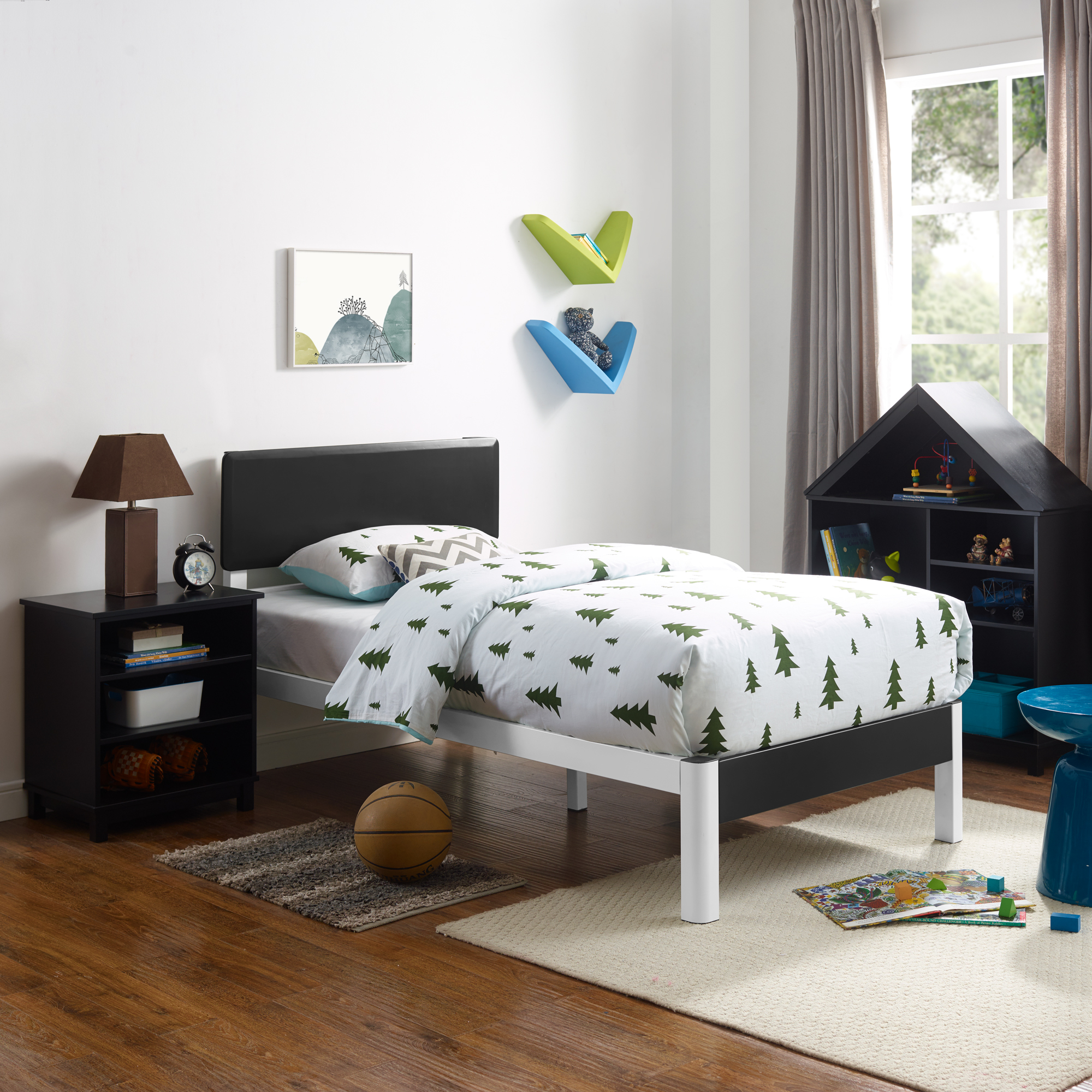 Modern Sleep Polina Wood Slat And White Metal Platform Bed Frame With Solid Wood Black Headboard Mattress Foundation Twin Walmart Com Walmart Com