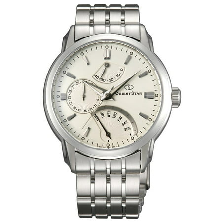 DE00002W Men's Retrograde Automatic White Dial Stainless Steel Power Reserve (Large Automatic Steel White Dial)