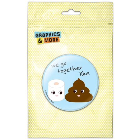 Poop Toilet Paper Funny Emoji Friends Pinback Button Pin Badge - Funny Buttons
