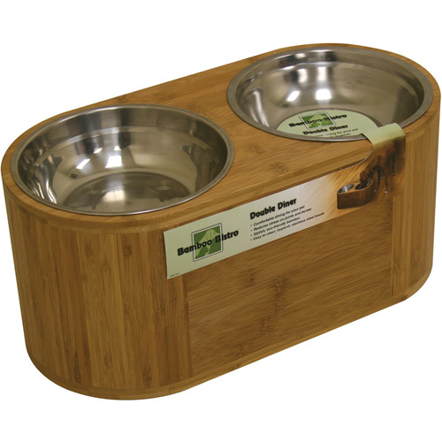 Just The Right Height Bamboo Bistro Double Feeder