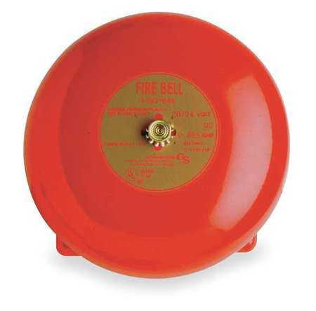 Fire Bell,Red,H 3 11/32 x L 6 x W 6 In EDWARDS SIGNALING 439D-6AW-R