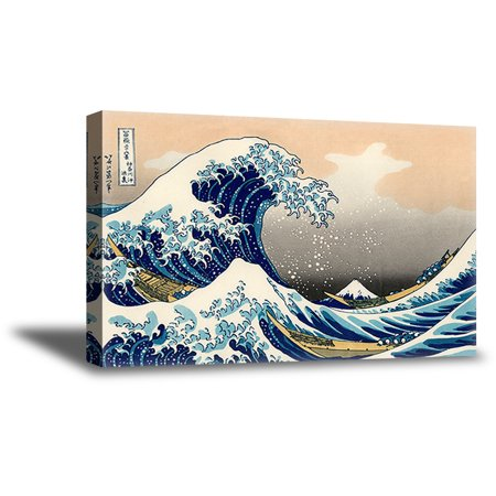 Awkward Styles The Great Wave off Kanagawa Japanese Art Under a Wave off Kanagawa Katsushika Hokusai Painter Classic Art Piece The Wave Canvas Wall Decor Wave Framed Artwork Ready to Hang Picture (The Waves Pictures)
