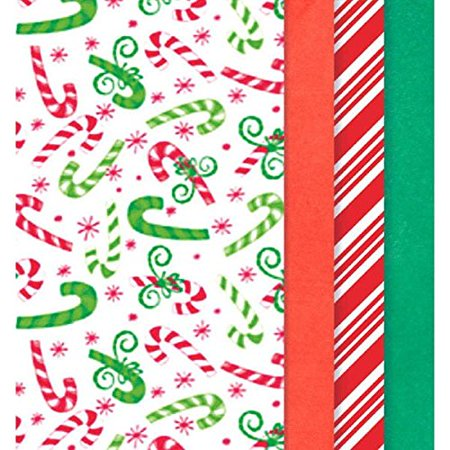 Amscan Candy Canes and Christmas Colors Printed Tissue For Gift Bags (Pack of 30), Multicolor, 20