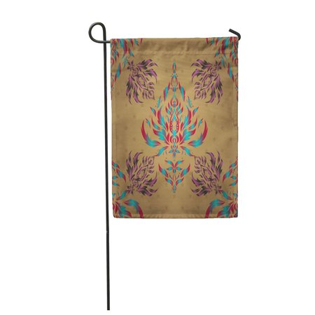- KDAGR Abstract in Blue Pink and Green Colors Ikat Damask Accessory Garden Flag Decorative Flag House Banner 12x18 inch