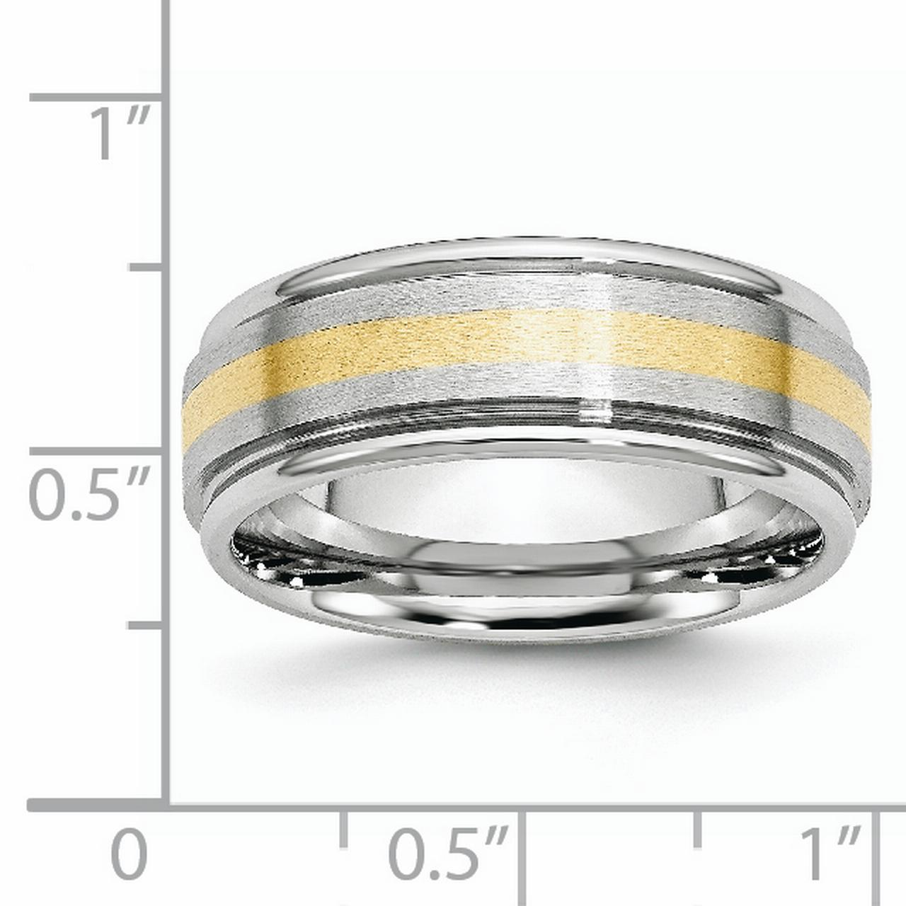 Cobalt 14k Gold Inlay 8mm Wedding Ring Band Size 11.00 Precious Metal Fine Jewelry Gifts For Women For Her - image 5 de 6