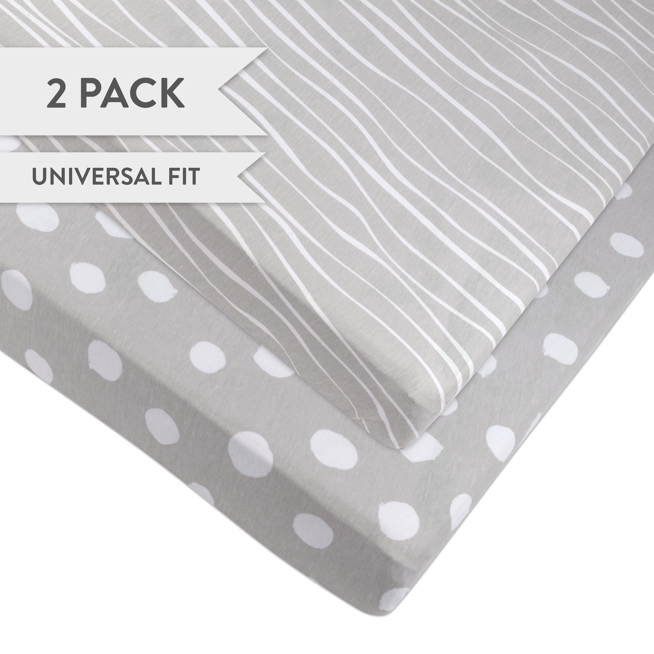 Pack N Play Portable Crib Sheet Set 100% Jersey Cotton 2 Pack - Grey and White Abstract Stripes and Dots
