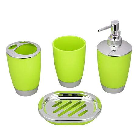 outdoorline 4pcs Bathroom Accessory Set PP Plastic Bathroom Suit Cup Toothbrush Holder Soap Dish Dispenser Kit - image 1 de 1